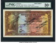 Lebanon Banque de Syrie et du Liban 50 Livres 1.9.1939 Pick 30s Specimen PMG Very Fine 30 Net. A scarce Specimen of this widely sought after denominat...