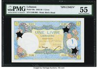 Lebanon Banque de Syrie et du Liban 1 Livre 1945 Pick 48s Specimen PMG About Uncirculated 55. Designed by Serveau and engraved by Deloche, this French...