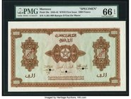 Morocco Banque d'Etat du Maroc 1000 Francs 1.3.1944 Pick 28s Specimen PMG Gem Uncirculated 66 EPQ. A well preserved World War II Specimen printed by t...