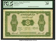 Morocco Banque d'Etat du Maroc 5000 Francs 1.8.1943 Pick 32 PCGS Very Fine 20. A very rare note in issued form, which we have offered only once previo...