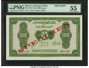 Morocco Banque d'Etat du Maroc 5000 Francs 1.8.1943 Pick 32s Specimen PMG About Uncirculated 55. A handsome, large format and rare Specimen that is as...