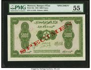 Morocco Banque d'Etat du Maroc 5000 Francs 1.8.1943 Pick 32s Specimen PMG About Uncirculated 55. Printed by ABNCo during World War II, this note is so...
