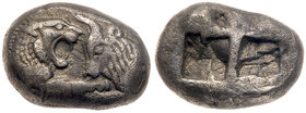 Lydian Kingdom. Kroisos. Silver Stater (10.44 g), ca. 560-546 BC. VF