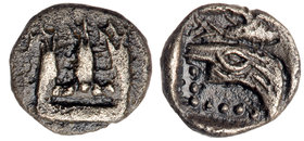 Phoenicia, Sidon. Uncertain king. Silver 1/16 Shekel (0.62 g), 5th-4th centuries BC. VF