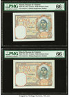 Algeria Banque de l'Algerie 5 Francs 23.8.1941 Pick 77b Five Consecutive Examples PMG Gem Uncirculated 66 EPQ(2); Gem Uncirculated 65 EPQ (2); Choice ...