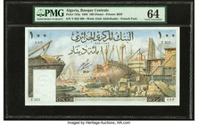 Algeria Banque Centrale d'Algerie 100 Dinars 1.1.1964 Pick 125a PMG Choice Uncirculated 64. Staple holes.  HID09801242017