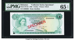 Bahamas Monetary Authority 1 Dollar 1968 Pick 27CS2 Collector Series Specimen PMG Gem Uncirculated 65 EPQ. Two POCs.  HID09801242017