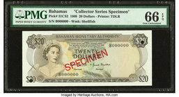 "Bahamas Monetary Authority 20 Dollars 1968 Pick 31CS2 ""Collector Series Specimen"" PMG Gem Uncirculated 66 EPQ. Two POCs.  HID09801242017"