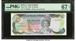 Belize Central Bank 10 Dollars 1.7.1983 Pick 44a PMG Superb Gem Unc 67 EPQ.   HID09801242017