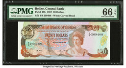 Belize Central Bank 20 Dollars 1.1.1987 Pick 49b PMG Gem Uncirculated 66 EPQ.   HID09801242017