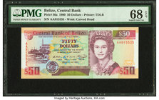 Belize Central Bank 50 Dollars 1.5.1990 Pick 56a PMG Superb Gem Unc 68 EPQ. This example is tied with one other as the highest graded on the PMG Repor...