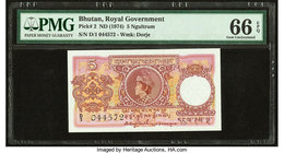 Bhutan Royal Government 5 Ngultrum ND (1974) Pick 2 PMG Gem Uncirculated 66 EPQ. Staple holes at issue.  HID09801242017