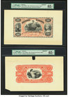 Bolivia Banco Nacional de Bolivia 50 Bolivianos 1883 Pick S209fp; S209bp Front And Back Proofs PMG Gem Uncirculated 65 EPQ. Five POCs.  HID09801242017