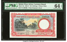 British West Africa West African Currency Board 20 Shillings 20.2.1957 Pick 10a PMG Choice Uncirculated 64 EPQ.   HID09801242017