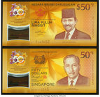 Singapore and Brunei 50 Dollars 2017 Commemorative Set in Folder Two Polymer Examples Crisp Uncirculated.   HID09801242017