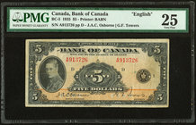 Canada Bank of Canada $5 1935 BC-5 PMG Very Fine 25. Problem-free, original grade is seen on this short lived example.   HID09801242017