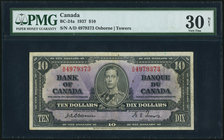 Canada Bank of Canada $10 2.1.1937 BC-24a PMG Very Fine 30 Net. Featuring the signature combination with the smallest print total, this example has or...