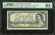 Canada Bank of Canada $20 1954 Devil's Face BC-33b PMG Choice Uncirculated 64 EPQ. A scarce, pack fresh example of this rare variety. B/E is a split p...