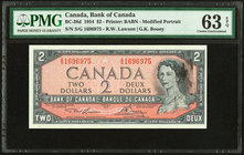 Canada Bank of Canada $2 1954 BC-38d PMG Choice Uncirculated 63 EPQ. Ink smear error.  HID09801242017