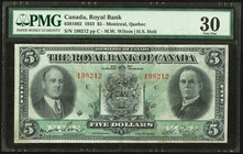 Canada Montreal, PQ- Royal Bank of Canada $5 3.7.1933 Ch.#630-16-02 PMG Very Fine 30. Tiny pinholes are mentioned for accuracy on this otherwise prett...