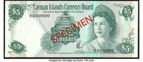 Cayman Islands Cayman Islands Currency Board $5 L. 1974 Pick 6s Specimen Crisp Uncirculated.   HID09801242017