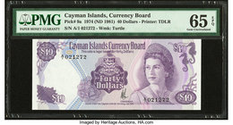 Cayman Islands Currency Board 40 Dollars 1974 (ND 1981) Pick 9a PMG Gem Uncirculated 65 EPQ.   HID09801242017