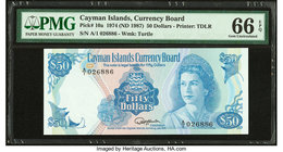Cayman Islands Currency Board 50 Dollars 1974 (ND 1987) Pick 10a PMG Gem Uncirculated 66 EPQ.   HID09801242017