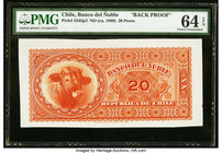 Chile Banco del Nuble 20 Pesos ND (ca. 1888) Pick S345p2 Back Proof PMG Choice Uncirculated 64 EPQ.   HID09801242017