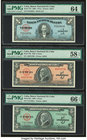 Cuba Banco Nacional de Cuba 1; 5; 5 Pesos 1960; 1950; 1960 Pick 77b; 78b; 92a Three Examples PMG Choice Uncirculated 64; Choice About Unc 58 EPQ; Gem ...