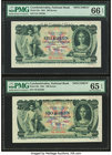 Czechoslovakia National Bank 100 Korun 1931 Pick 23s Two Specimens PMG Gem Uncirculated 66 EPQ; Gem Uncirculated 65 EPQ. Perforated specimens  HID0980...