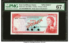 East Caribbean States Currency Authority 1 Dollar ND (1965) Pick 13s Specimen PMG Superb Gem Unc 67 EPQ. Four POCs.  HID09801242017