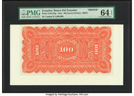 Ecuador Banco del Ecuador 100 Sucres 18xx Pick S161Abp Back Proof PMG Choice Uncirculated 64 EPQ.   HID09801242017