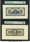 El Salvador Banco Occidental 10 Colones ND (1925) Pick S196fp; S196bp Front And Back Proofs PMG Superb Gem Unc 67 EPQ; Choice Uncirculated 64 EPQ.   H...