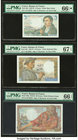 France Banque de France 5 Francs 5.8.1943 Pick 98a PMG Gem Uncirculated 66 EPQ S. France Banque de France 10; 20 Francs 13.1.1944; 17.5.1944 Pick 99e;...