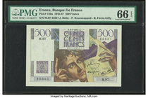 France Banque de France 500 Francs 9.1.1947 Pick 129a PMG Gem Uncirculated 66 EPQ.   HID09801242017