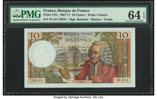 France Banque de France 10 Francs 4.7.1968 Pick 147c PMG Choice Uncirculated 64 EPQ.   HID09801242017