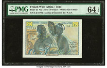 French West Africa Institut d'Emission de l'AOF et du Togo 50 Francs ND (1956) Pick 45 PMG Choice Uncirculated 64 EPQ.   HID09801242017