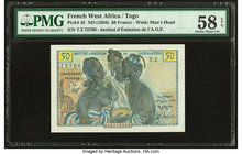 French West Africa Institut d'Emission de l'AOF et du Togo 50 Francs ND (1956) Pick 45 PMG Choice About Unc 58 EPQ.   HID09801242017