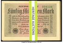 Germany Reichsbanknote 50 Millionen Mark 1.9.1923 Pick 109, Forty-Eight Examples Crisp Uncirculated or Better; Bayerische Banknote 1,000,000 Mark 20.8...