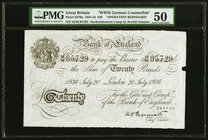 "Great Britain Bank of England 20 Pounds 20.7.1936 Pick 337Ba ""Operation Bernhard"" PMG About Uncirculated 50. Paper makers' notch; pinholes.  HID098012..."