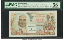 Guadeloupe Caisse Centrale de la France d'Outre-Mer 1 Nouveau Franc on 100 Francs ND (1960) Pick 41 PMG Choice About Unc 58.   HID09801242017