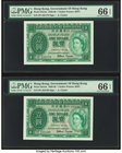 Hong Kong Government of Hong Kong 1 Dollar 1.7.1959 Pick 324Ab KNB19 Two Consecutive Examples PMG Gem Uncirculated 66 EPQ.   HID09801242017