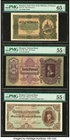 Lot Of Six PMG Graded Examples From Hungary. Ministry of Finance 20 Korona 1920 Pick 61 PMG Gem Uncirculated 65 EPQ; National Bank 100; 50 Pengo 1930;...