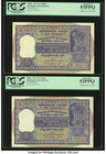 India Reserve Bank of India 100 Rupees ND (1962-67) Pick 45 Jhun6.7.4.2 Two Consecutive Examples PCGS About New 53PPQ. Pinholes at left as issued.  HI...