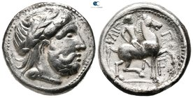 Middle and Lower Danube. Uncertain tribe. Imitations of Philip II of Macedon circa 300-200 BC. Tetradrachm AR