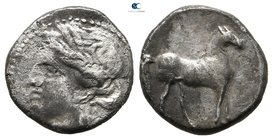 Zeugitania. Uncertain Punic mint in Bruttium (or Lokris?) under Carthaginian occupation circa 215-205 BC. 1/4 Shekel AR