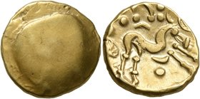 CELTIC, Northeast Gaul. Ambiani. Circa 60-30 BC. Stater (Gold, 17 mm, 6.29 g). Blank convex surface. Rev. Celticized horse galloping to right, horsema...