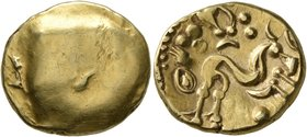 CELTIC, Northeast Gaul. Ambiani. Circa 60-30 BC. Stater (Gold, 18 mm, 6.28 g). Blank convex surface. Rev. Celticized horse galloping to right, horsema...
