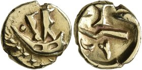 CELTIC, Northeast Gaul. Atrebates. Circa 60-30/25 BC. Quarter Stater (Gold, 11 mm, 1.42 g). Two men standing right in a boat with stylized waves below...
