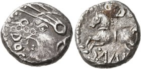 CELTIC, Central Gaul. Sequani. Mid 1st century BC. Quinarius (Silver, 12 mm, 2.00 g, 3 h), Q. Doci and Sam. F. (?). Q•DOCI Celticized head of Roma to ...